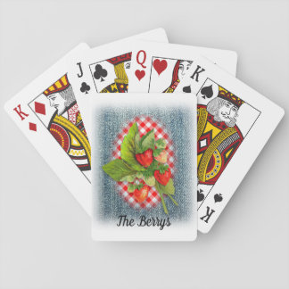 Rustic Country Vintage Strawberries Playing Cards