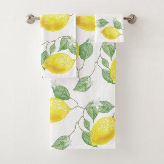 Rustic Country Watercolor Lemons & Blossoms Bath Towel Set