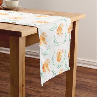 Rustic Country Watercolor Pumpkins & Laurels Short Table Runner