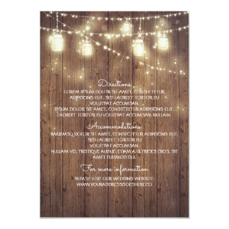 """Rustic Country Wedding Details - Information 4.5"""" X 6.25"""" Invitation Card"""