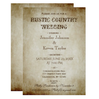 Rustic Country Wedding Distressed Vintage Card