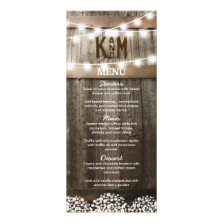 RUSTIC COUNTRY WEDDING MENU | STRING OF LIGHTS FULL COLOUR RACK CARD