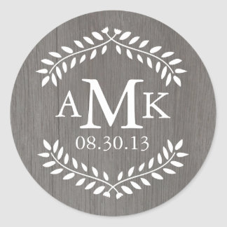 Rustic Country Wedding Monogram Stickers