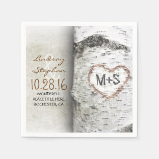 Rustic country wedding napkins with birch tree paper napkins