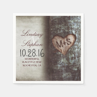 Rustic country wedding napkins with tree heart disposable napkin