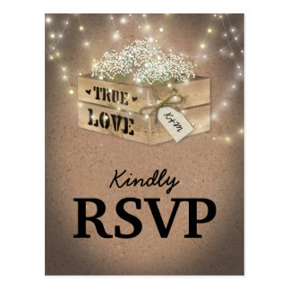 Rustic Country Wedding RSVP | Baby's Breath Lights Postcard