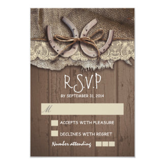 """Rustic country wedding RSVP cards 3.5"""" X 5"""" Invitation Card"""