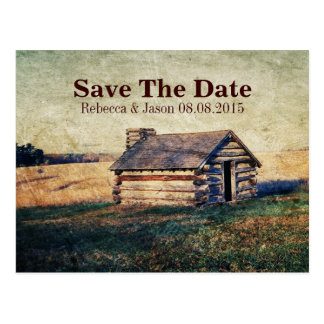 rustic country wedding save the date postcards