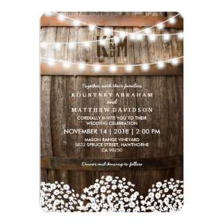 "RUSTIC COUNTRY WEDDING | STRING OF LIGHTS 5"" X 7"" INVITATION CARD"