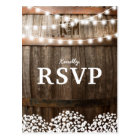 RUSTIC COUNTRY WEDDING | STRING OF LIGHTS RSVP POSTCARD
