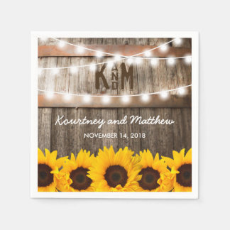 Rustic Country Wedding | Sunflower String Lights Disposable Napkin