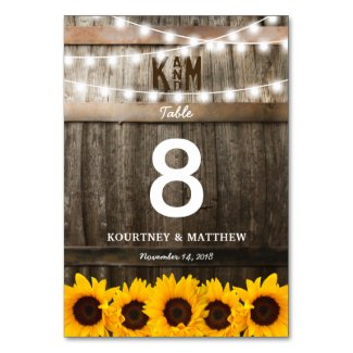 Rustic Country Wedding | Sunflower Table Numbers