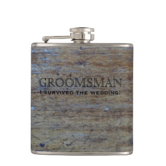 Rustic Country Wedding Wood | Funny Groomsman Hip Flask