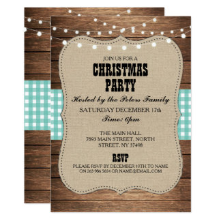 Rustic Country Western Christmas Dinner Day Party Card