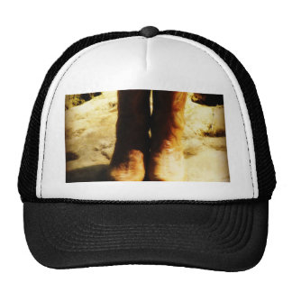 Rustic Country Western Cowboy Boots in Sunlight Trucker Hat