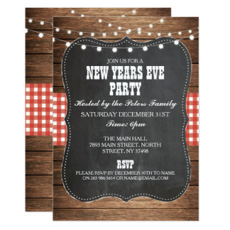 Rustic Country Western New Years Eve Party Invite