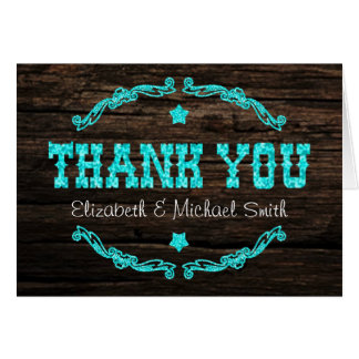 Rustic Country Western Star Thank You Card