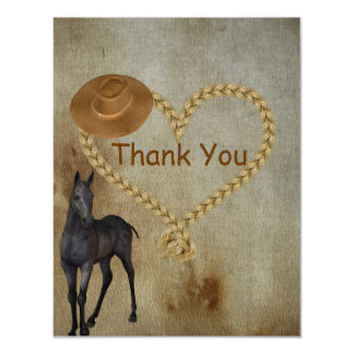 RUSTIC Country Western Thank You Card
