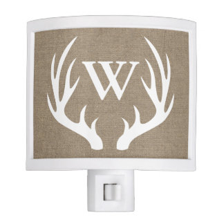 Rustic Country White Buck Antlers Initial Letter Nite Light