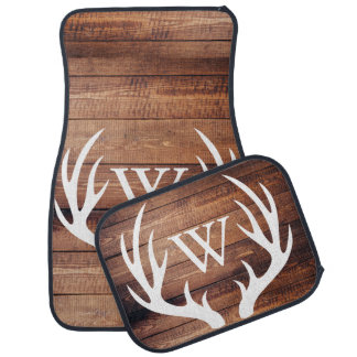 Rustic Country White Deer Antlers Barn Wood Auto Mat
