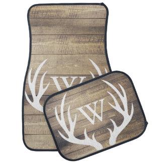 Rustic Country White Deer Antlers Barn Wood Car Liners
