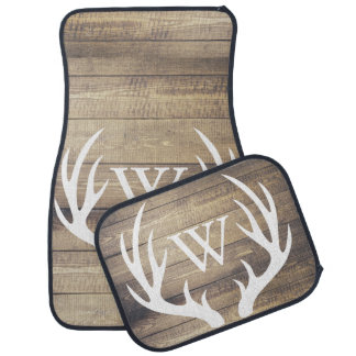 Rustic Country White Deer Antlers Barn Wood Car Mat