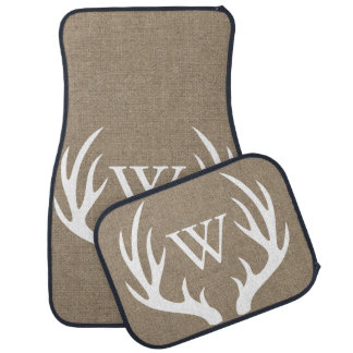 Rustic Country White Deer Antlers Burlap Monogram Car Liners