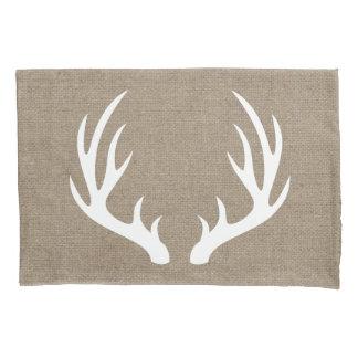 Rustic Country White Deer Antlers Burlap Pillowcase