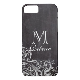 rustic country white lace chalkboard monograms iPhone 8/7 case