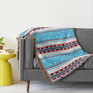 Rustic Country Winter Aqua Blue and Maroon Throw Blanket
