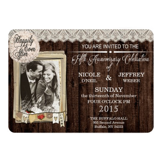 Rustic Country Wood 5 Year Anniversary Invitation