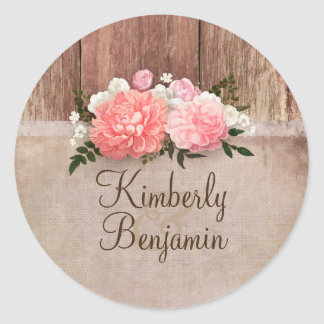 Rustic Country Wood and Burlap Floral Wedding Round Sticker
