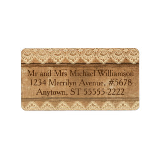 Rustic Country Wood and Cream Lace Label