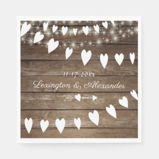 Rustic Country Wood and String Of Lights Wedding Paper Napkin