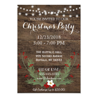 Rustic Country Wood Christmas Party Invitation