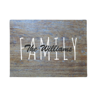 Rustic Country Wood | Family Name Monogram Doormat