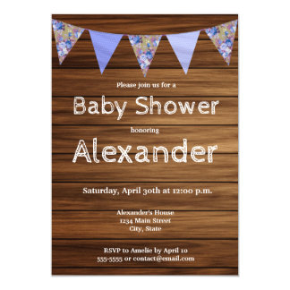 Rustic country wood farmhouse boy baby shower card