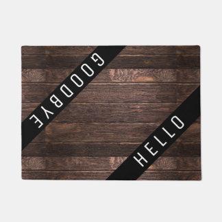 Rustic Country Wood Hello Goodbye Doormat