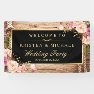 Rustic Country Wood Knot Floral Wedding Party Banner