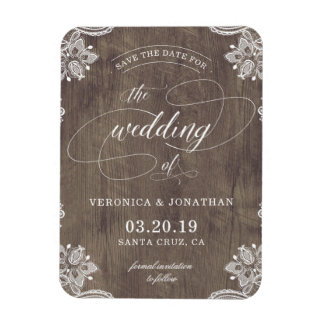 Rustic Country Wood & Lace Wedding Save The Date Magnet