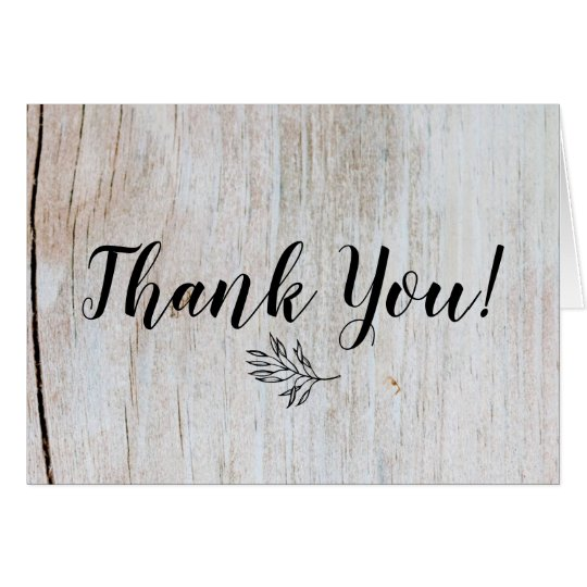 Rustic Country Wood & Leaves Thank You Card