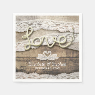 Rustic Country Wood Love Rope Burlap Lace Wedding Napkin
