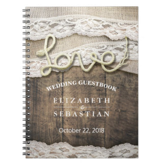 Rustic Country Wood Love Rope Wedding Guestbook Spiral Note Book