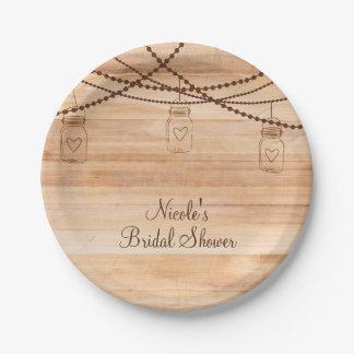 Rustic Country Wood & Mason Jars Barn Wedding Paper Plate