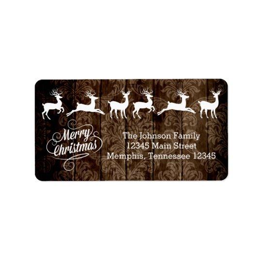 Rustic Country Wood Reindeer Merry Christmas Label