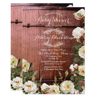Rustic Country Wood Scotch Roses Baby Shower Card