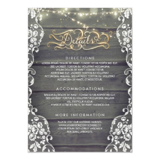 Rustic Country Wood Wedding Details - Information Card