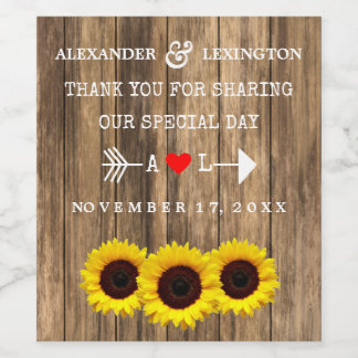 Rustic Country Wood with Sunflowers Wedding Wine Wine Label