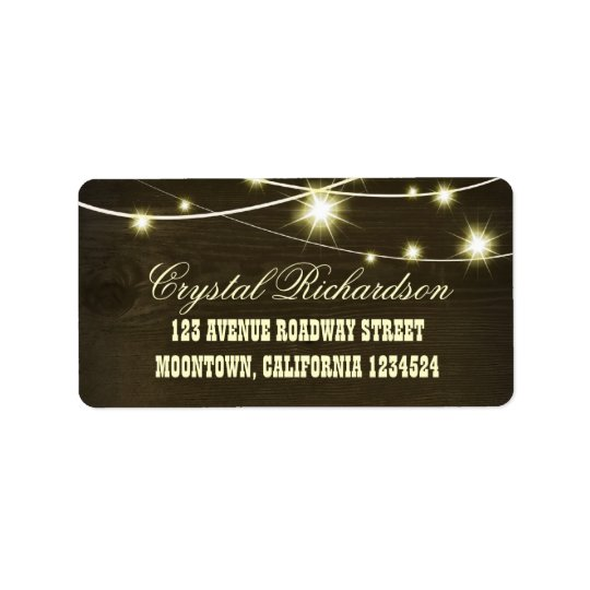 rustic country wooden string lights label