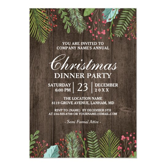 Rustic Country Woodgrain Holiday Christmas Party Card